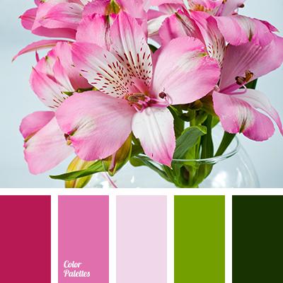 color matching, color palette for spring, color solution for design, colors of spring 2016, dark green color, green color, lime color, pink color