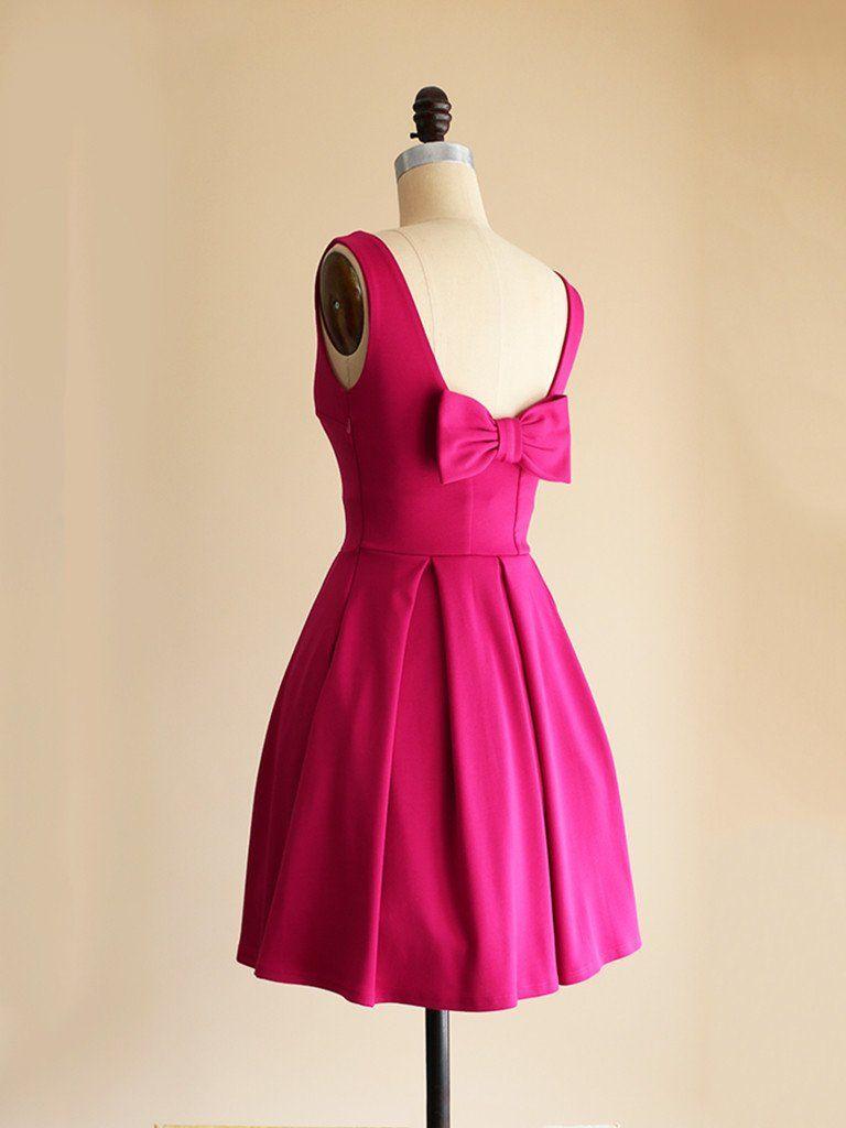 January fuchsia short hot pink ponte fit flare dress