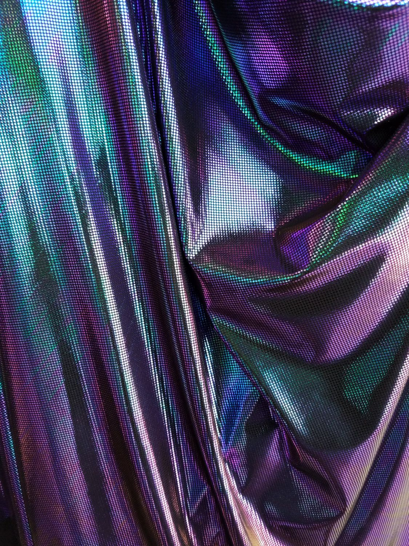 Green Purple Iridecent Dots On Black Spandex Fabric Shinny