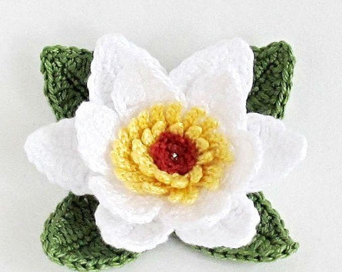 Patrón de flor de ganchillo PNG, lirio de agua patrón ganchillo ...