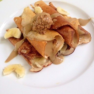 Peanut butter banana crepes. #eatcleanlivestrong.net