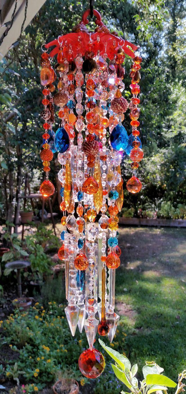 autumn antique crystal wind chime orange crystal wind chime garden decor home - Orange Garden Decor
