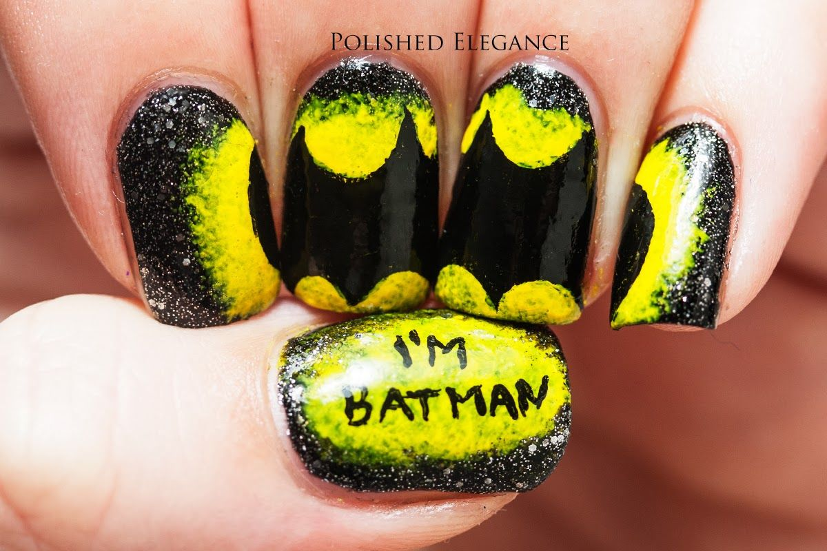 Batman nail art manicure Batman nails comic nails Im Batman nails OMG.I  wouldnt do this myself, but this is FANTASTIC! - Batman Nails Nail Art Pinterest Batman, Batman Nails And Makeup
