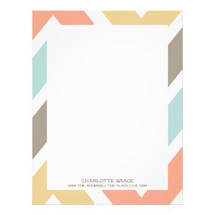 Bright Colorful Chevron Personalized Letterhead  Pattern Sample
