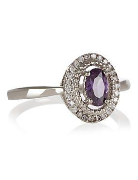 Purple Platinum Plated Sparkle Oval Diamanté Ring