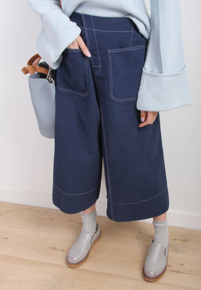 Contrast Stitch Wide Leg Canvas Trousers