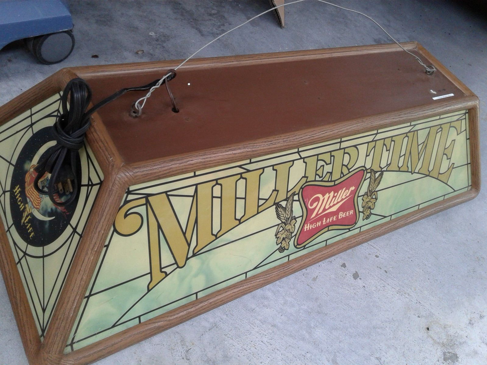 Superbe Vintage Miller High Life Beer Pool Table Light ( Girl On Moon )