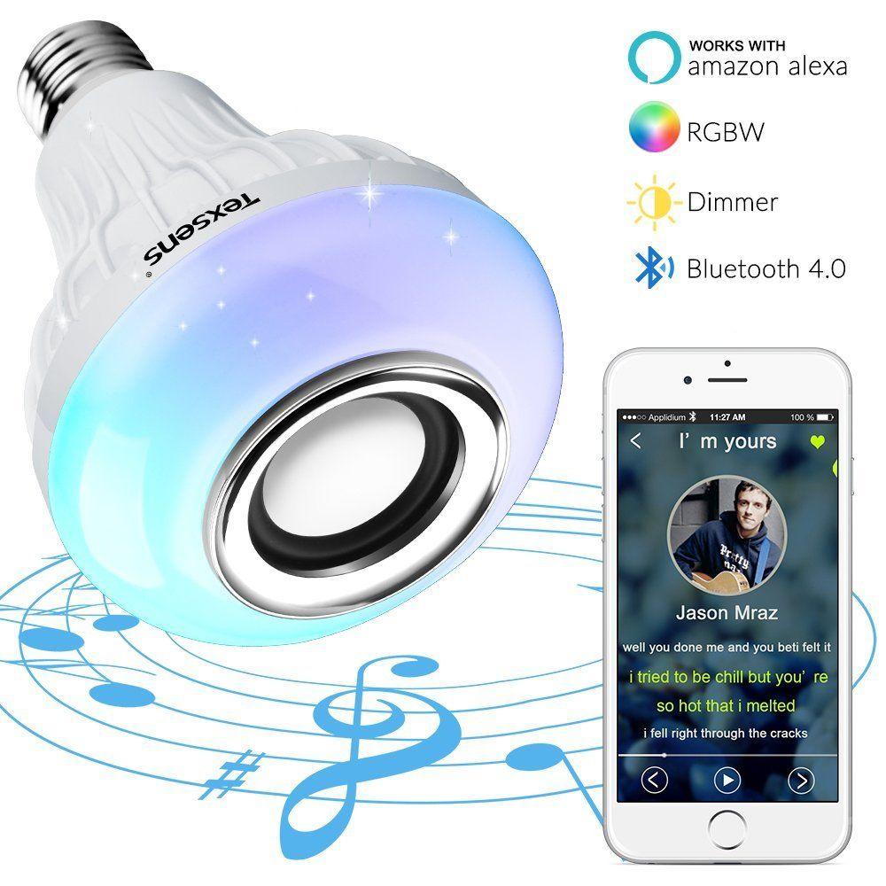 Texsens Bluetooth 4 0 Led Smart Lampe Farbwechsel Gluhlampe Musik Gluhbirne E27 6w Lautsprecher Birne Dimmbare Rgb Bluetooth Light Smart Light Bulbs Music Lamp