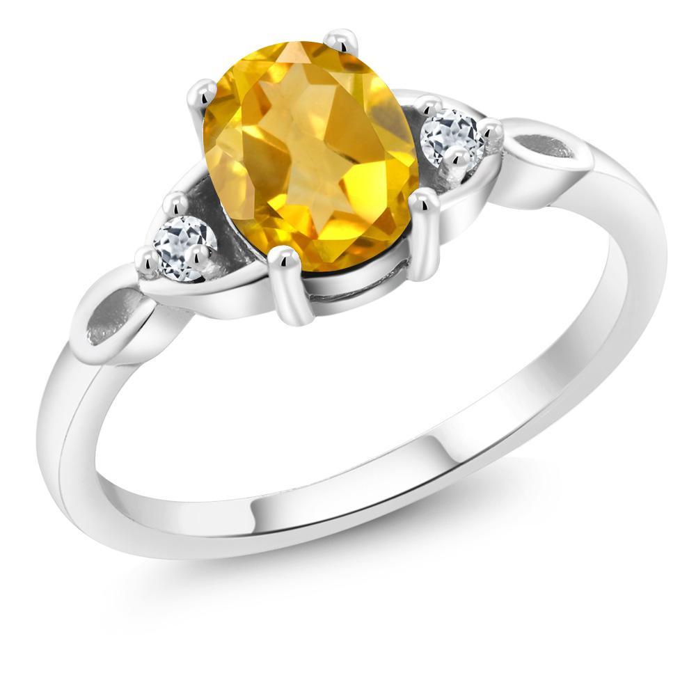 1.38 Ct Oval Checkerboard Yellow Citrine Black Diamond 925 Silver Men/'s Ring