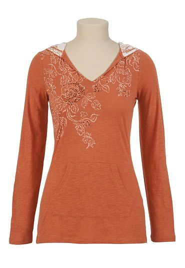 Slub Printed Hoodie with Stones available at #Maurices