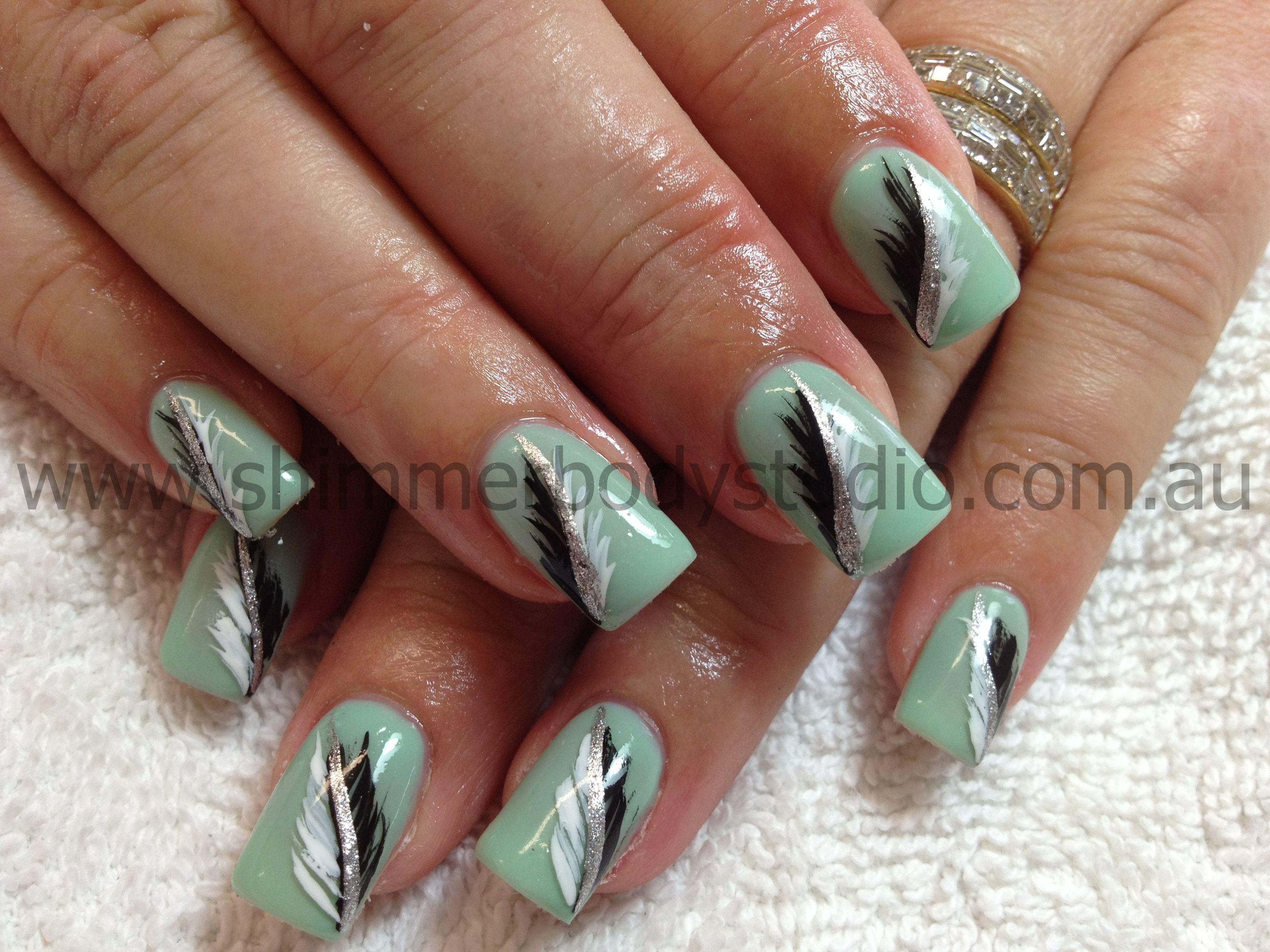 Gel Nails Hand Painted Nail Art Feather Nail Art By Shimmer Body Studio Feather Nail Art Nail Art Nail Art Studio