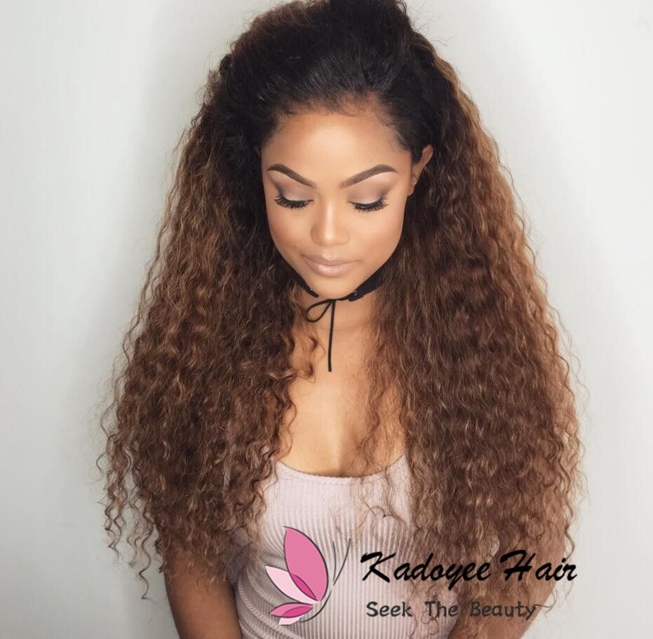 Ombre Human Hair Wigs For Black Women Pre Plucked With Baby Hair 1b 30 Curly Ombre Hair Wigs Kadoyee Hair Wig Hairstyles Human Hair Lace Wigs Human Hair Wigs