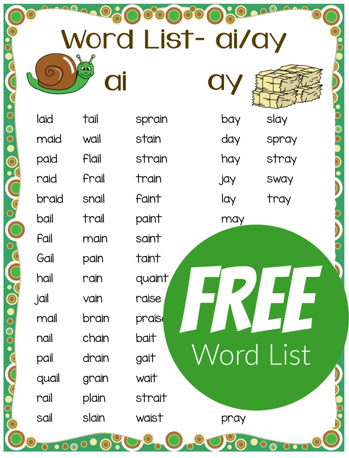 small resolution of Teaching the Long a Spelling Pattern - ai ay Phonics Bundle! - Make Take \u0026  Teach   Phonics words
