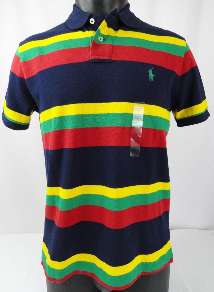 6598eeba37348 NWT Polo Ralph Lauren M Polo Shirt Mens SS Striped Mesh  Blue Yellow Red Green  PoloRalphLauren  PoloRugby