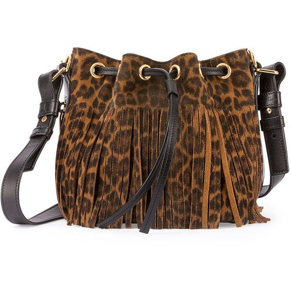 Saint Laurent Emmanuelle Suede Leopard-Print Fringe Bucket Bag ($1,990) ❤ liked on Polyvore featuring bags, handbags, shoulder bags, fringe shoulder bag, fringe bucket bag, leopard purse, suede fringe purse en animal print handbags