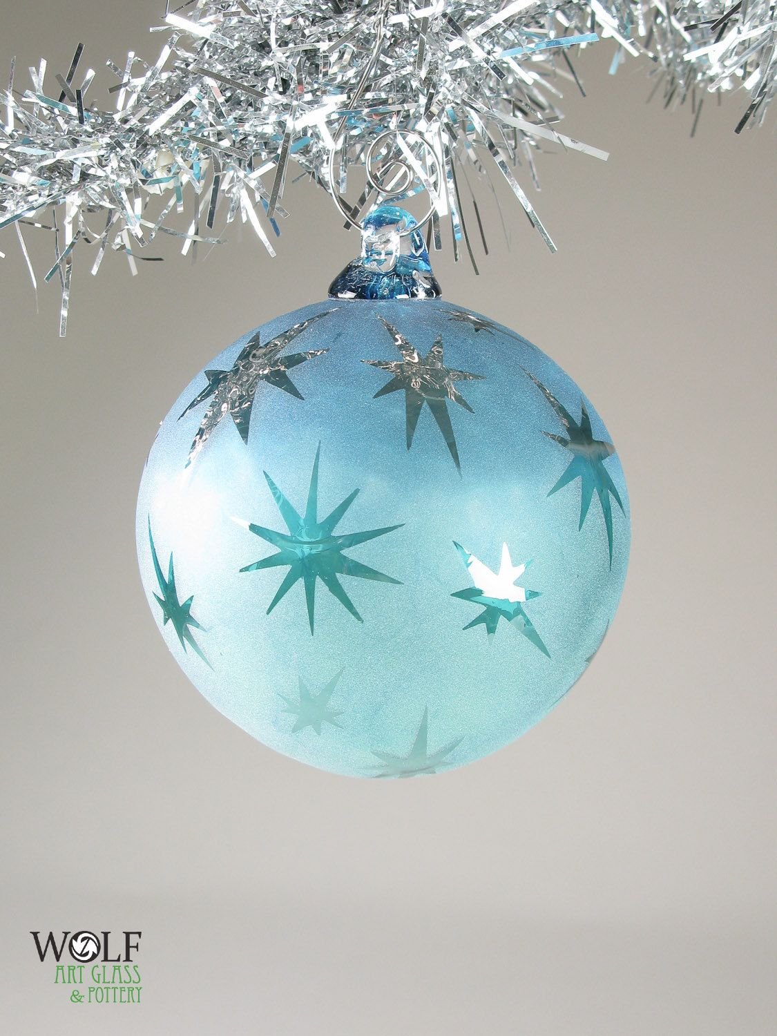 Blown Glass Ornament Signature Series Blue Ombre Retro Shiny Star Etch 42 00 Blue Christmas Ornaments Candy Christmas Decorations Vintage Christmas Ornaments