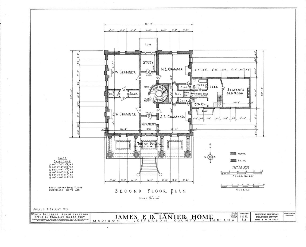 Second Floor Lanier Mansion Madison Indiana Greek Revival Greek Revival Architecture Vintage House Plans