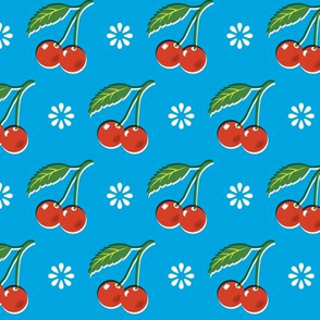 Fabric by the Yard Cherry Bomb* (Sky) || cherry cherries fruit leaves flowers nature sour pie summer cobbler maraschino blue vintage kitchen