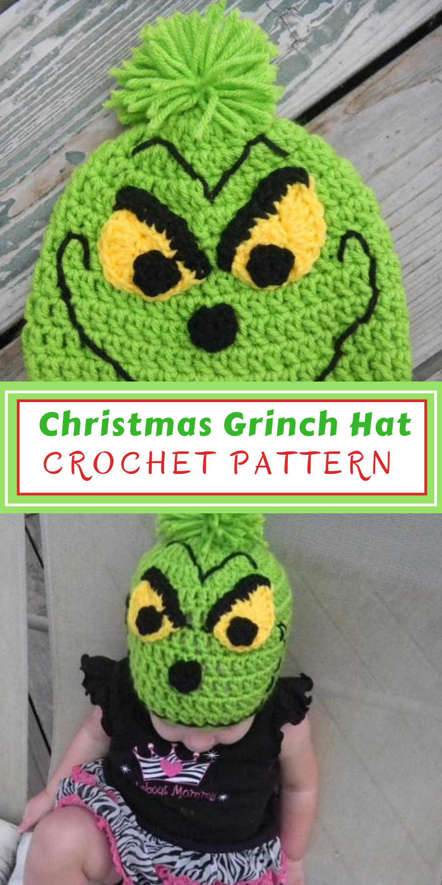bbf939128e2 Cuteness overload! Crochet Christmas Mr Grinch Hat Pattern! What ...