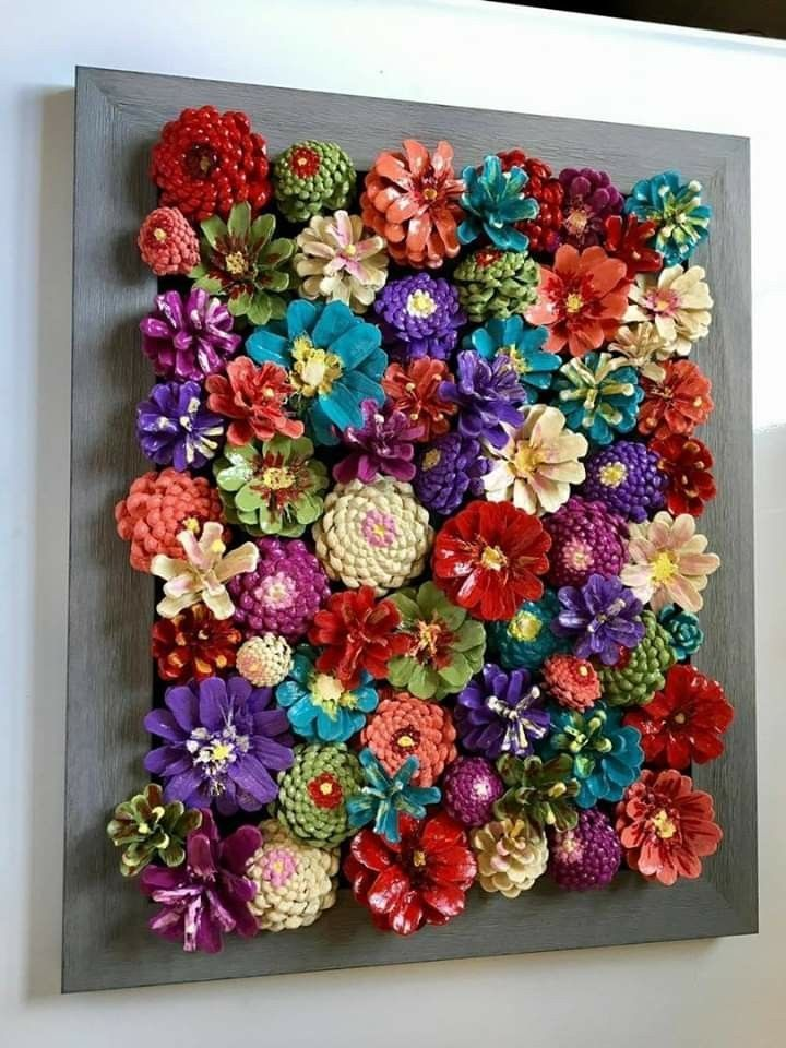 Beautiful hand made and painted pincone flowers on repurposed barn wood! This pi...