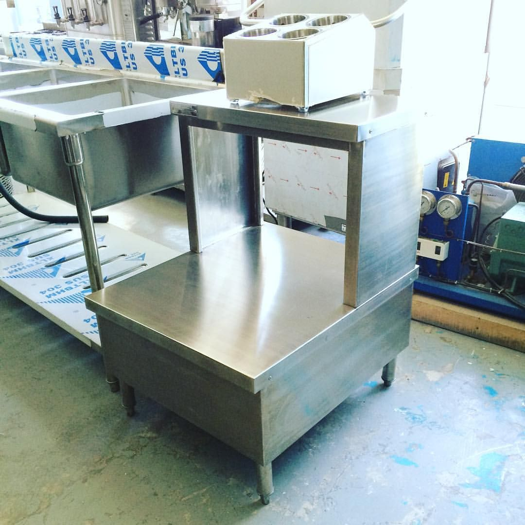 Stainless steel tray stand and silverware caddy fabricated by us ...