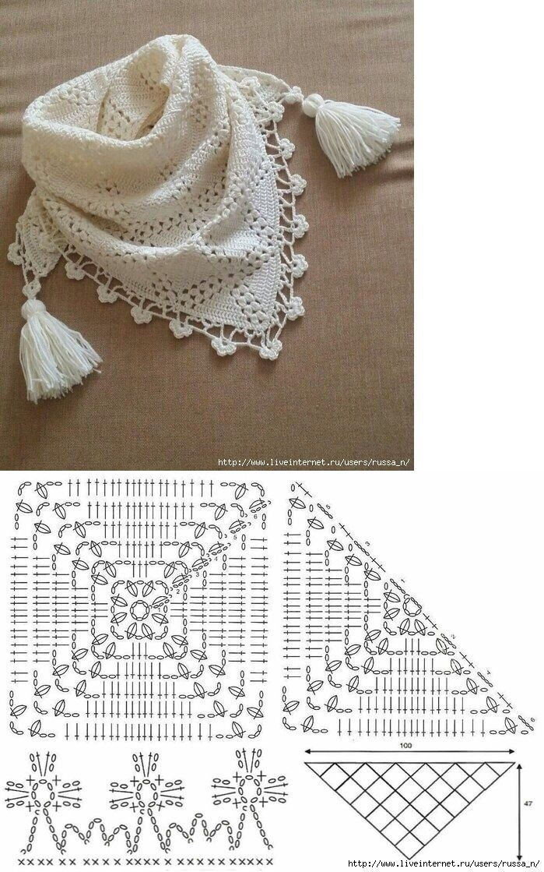 Шаль, бактус крючком | Crochet | Pinterest | Ganchillo, Croché y Chal