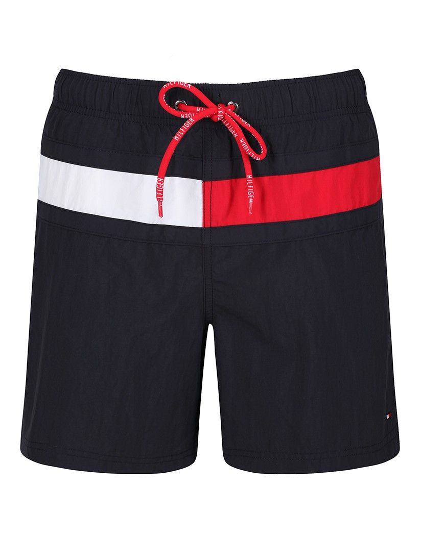 d7bd1cf921 Tommy Hilfiger Men's Nylon Solid Flag Swim Shorts - Midnight | Men ...