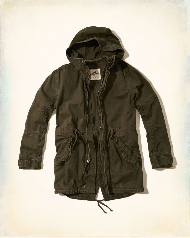 Hollister By Abercrombie Army Green Fishtail Twill Parka Coat Jacket Men S M [ 1000 x 800 Pixel ]