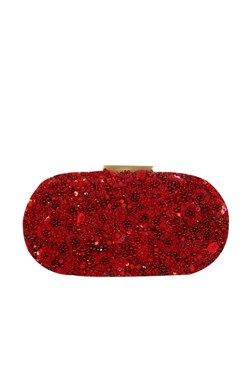91bf5e9a383 Clutches, Red hand crusted minaudiere oval clutch Featuring a red oval box  minaudiere in pull up leather with fully sequins, thread and beads .