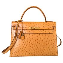 Hermes Ostrich Leather Kelly Bag Ostrich Leather Brown Leather Handbags