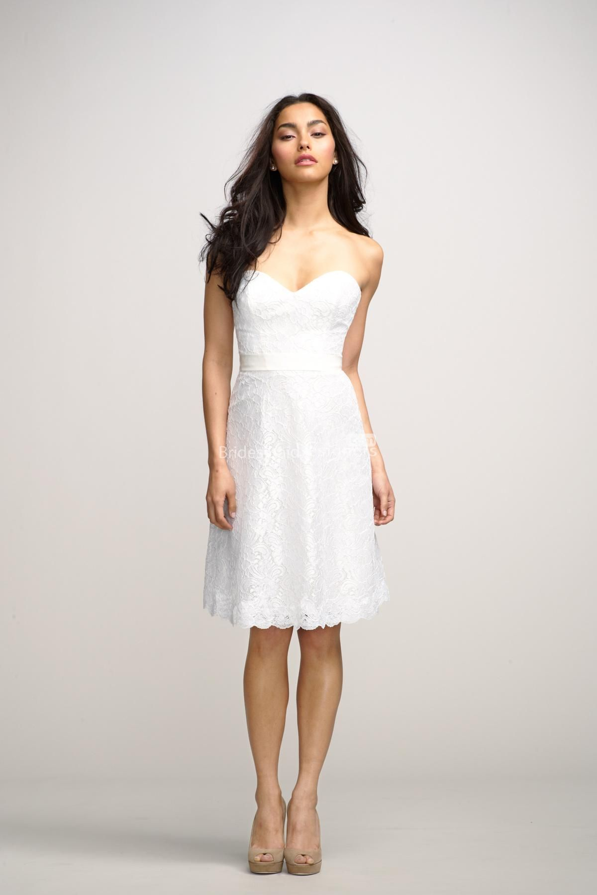 Mini white wedding dress  little white strapless sweetheart short mini lace bridal rehearsal