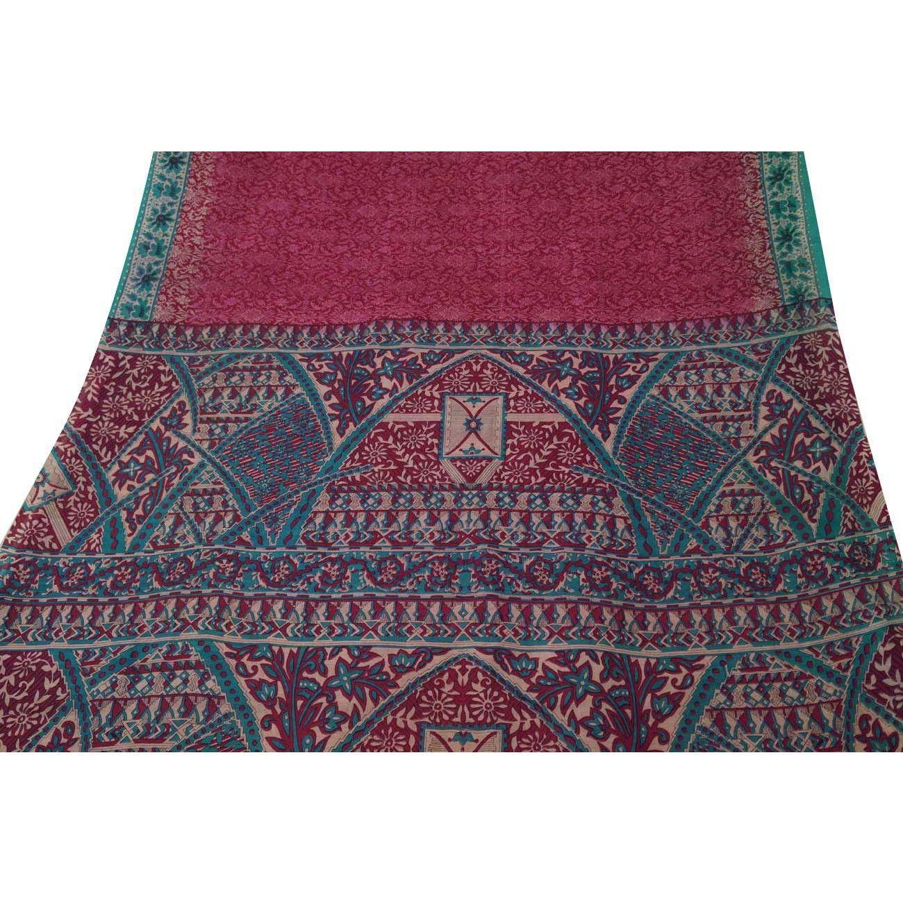 Indian Vintage Craft Saree Pure Silk Printed Fabric Art Décor Floral Red Sari
