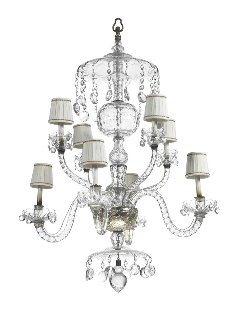 AN ENGLISH CUT-GLASS EIGHT-LIGHT CHANDELIER - PARTS POSSIBLY 18TH ...