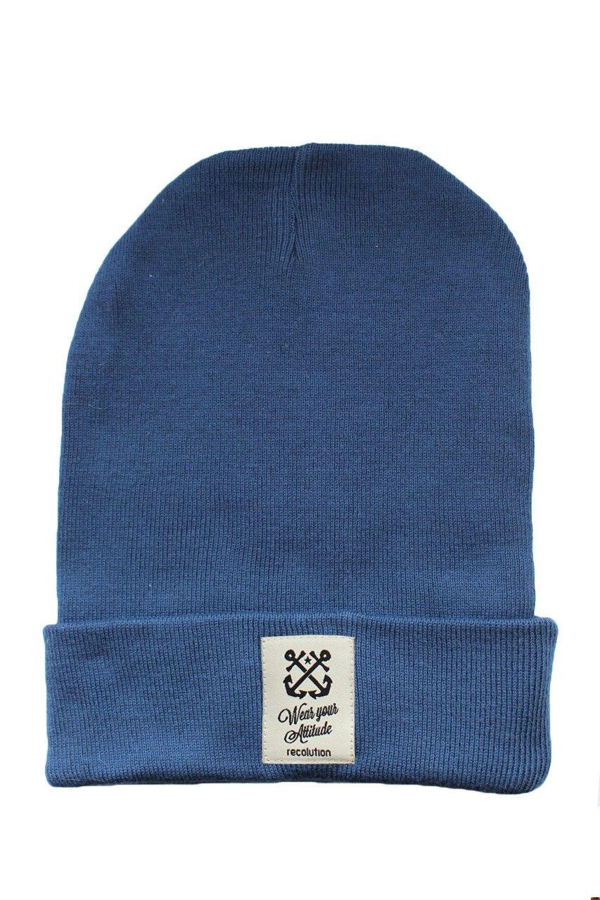recolution Strick Mütze blau organic fair trade Beanie Bio Baumwolle Knit 1b6997d301