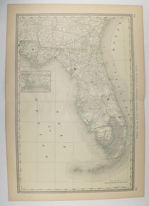 Rand Mcnally Map Of Florida.Vintage Map Of Florida 1881 Rand Mcnally Florida Map Fl Map