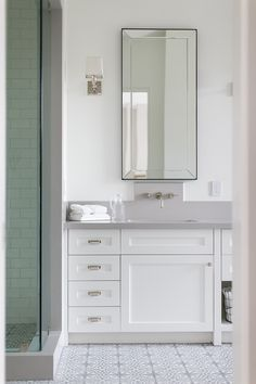 Website Photo Gallery Examples Restoration Hardware Bathroom Mirror Cabinet paint color is Dunn Edwards Whisper Countertop is Brushed