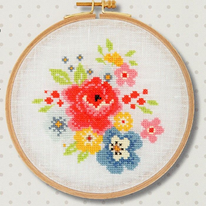 Vintage flower cross stitch kit £ http