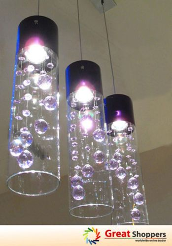 Glass Shade Crystal Ceiling Light Pendant Lamp x 3 pendants ...
