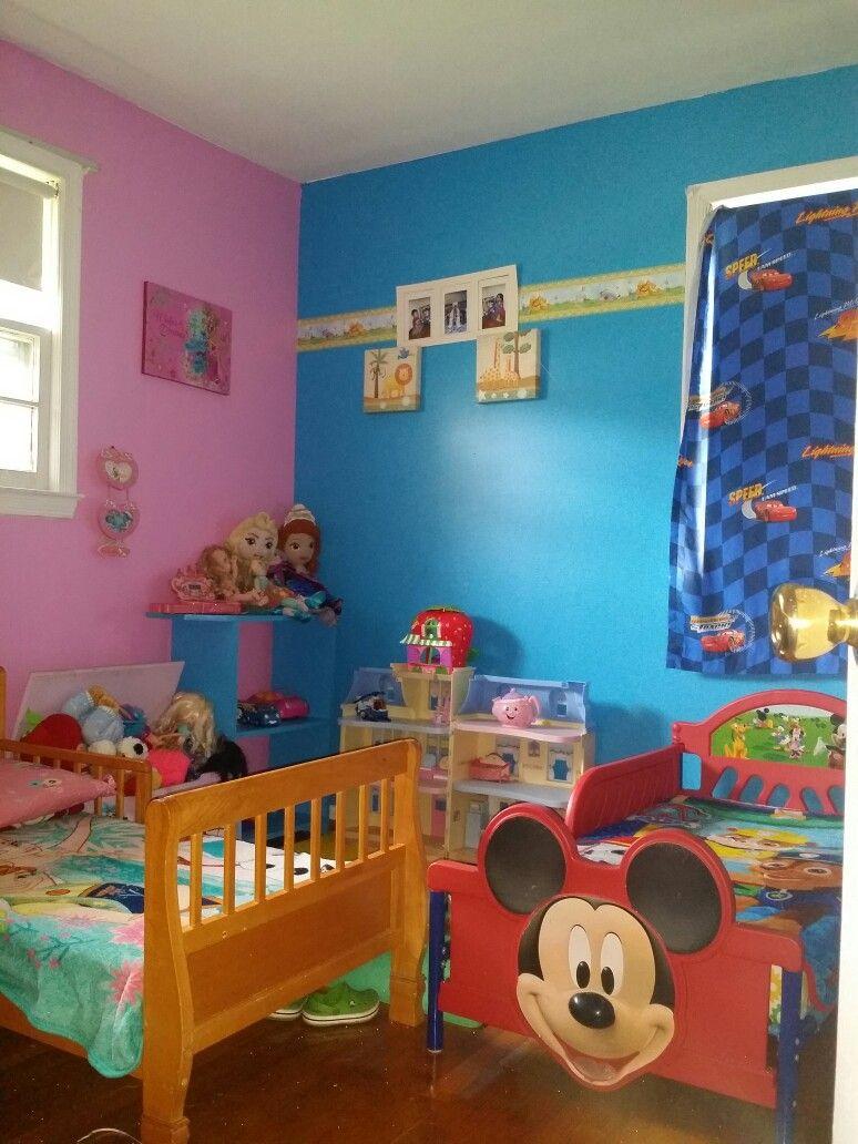 Cuarto de ni o y ni a con rea de juegos decorando mi - Pintar habitacion infantil nino ...
