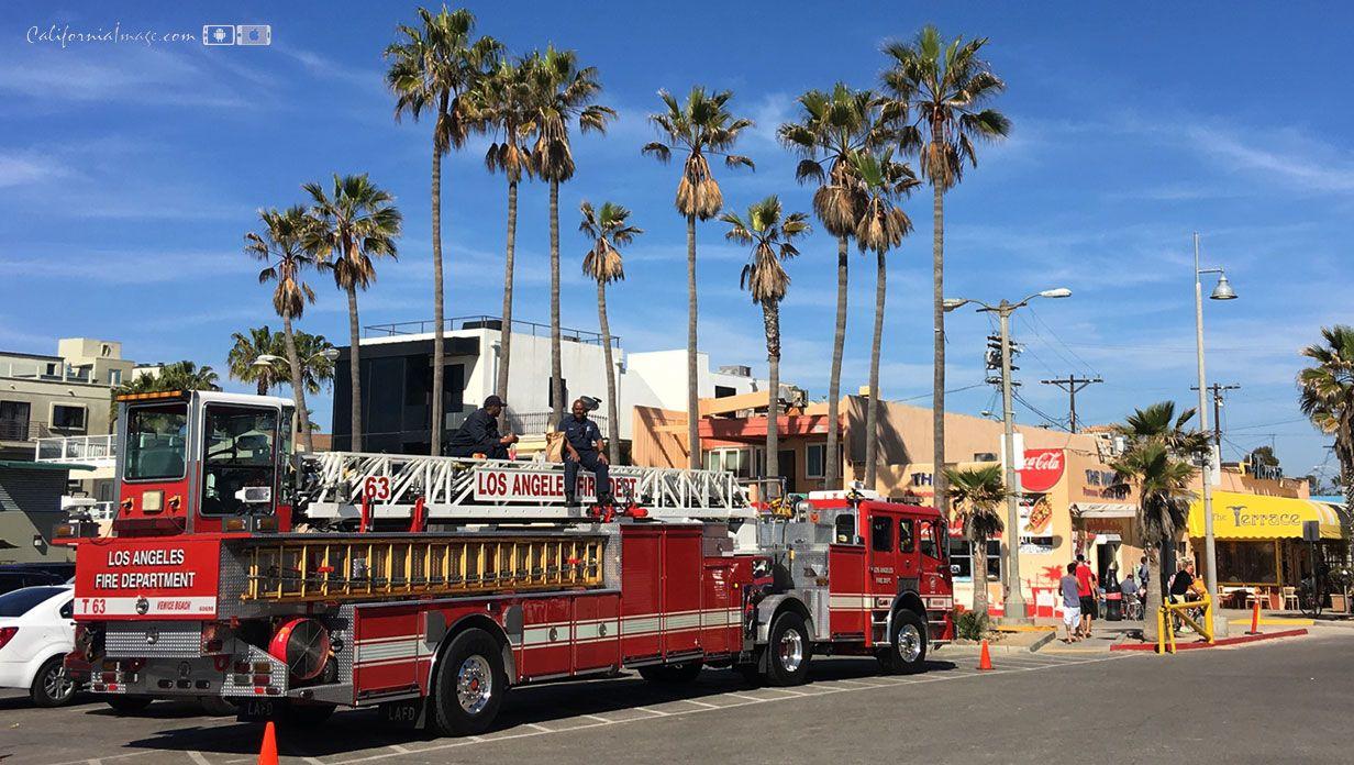 Lafd Ladder Truck On Beach Venice Beach California Daily Photo Beach