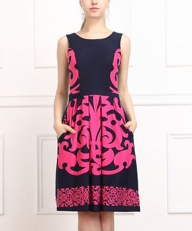 Another great find on #zulily! Navy & Pink Abstract Fit & Flare Dress - Women #zulilyfinds