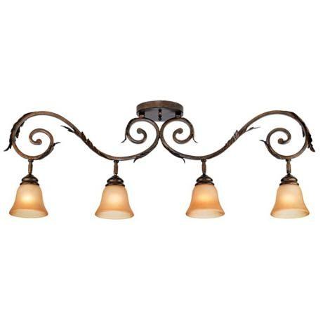 Bathroom Lighting Measurements pro track® bronze scroll 4-light amber glass track fixture | amber