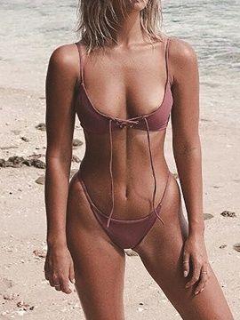 Cameo Brown Eyelet Lace Up Front Women Bikini Top