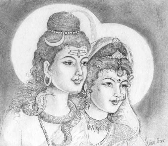 Shivparvati Sketches Lord Shiva Painting Pencil Drawing Images