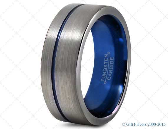 mens tungsten ringblue 8mm men tungsten ringsblue wedding bandspolice ring
