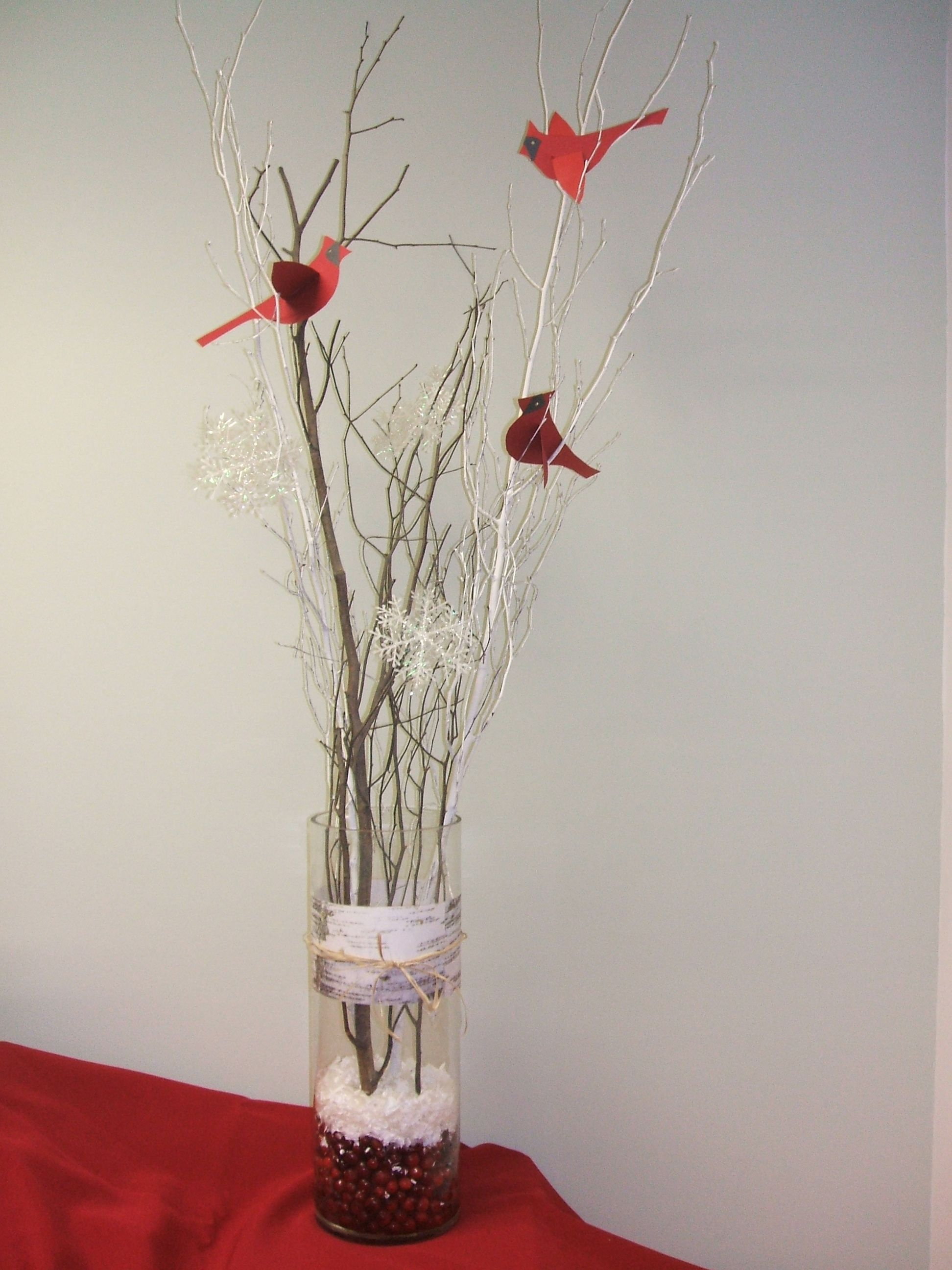Winter cardinal centerpiece with branches paper birds and for Artificial cranberries for decoration