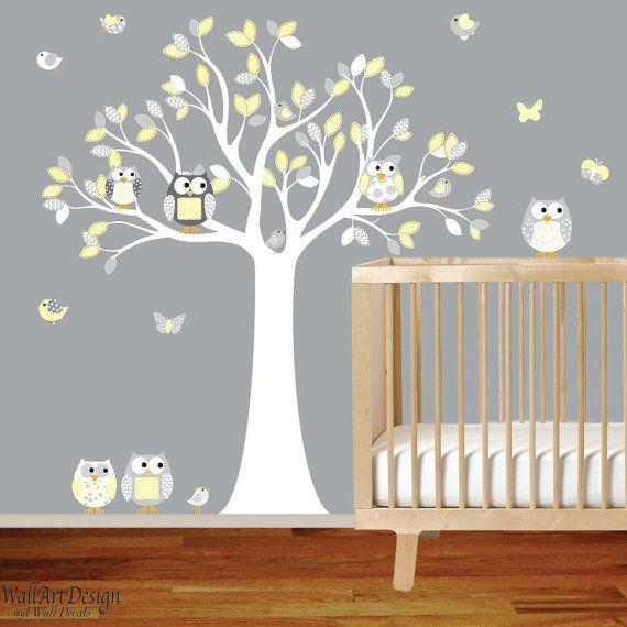 Nursery Wall Decal Vinyl Yellow Chevron Pattern Owl Tree Set Boy Baby On