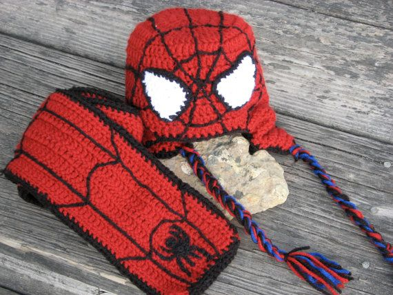 Spiderman hat and scarf - It took awhile, but I was able to figure ...