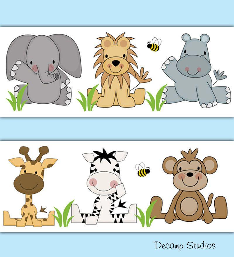 Safari Animals Nursery Baby Boy Wallpaper Border Wall Art Decals Kids Jungle Room Stickers Eleph Safari Animals Nursery Wall Stickers Baby Boy Lion Kids Art