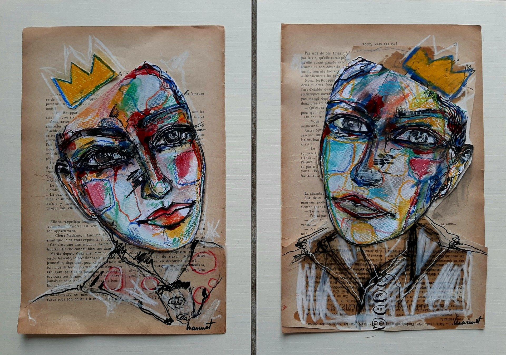 Collage, encre et pastel   Peinture, Art, Peintre